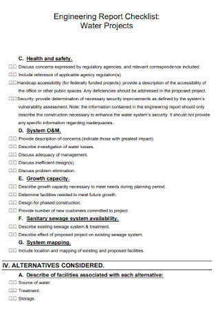 Engineering Projects Report Checklist