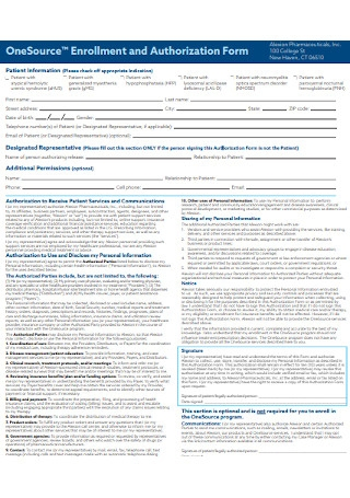 Enrollment and Authorization Form