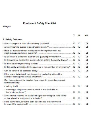 Equipment Safety Checklist