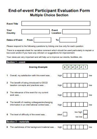 Event Participant Evaluation Form