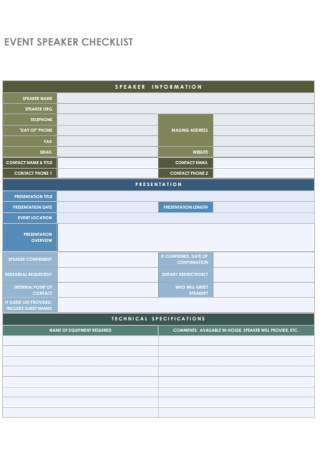 Event Speaker Checklist Template