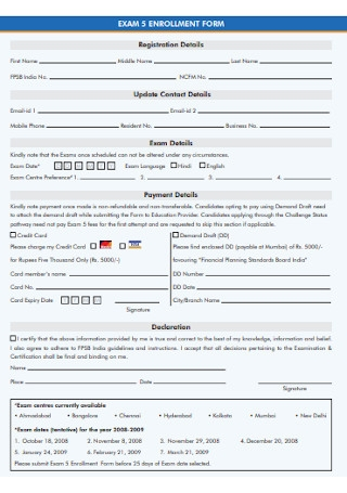 Exam Enrollment Form