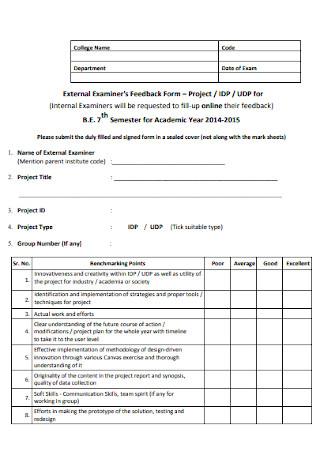 External Examiners Feedback Form