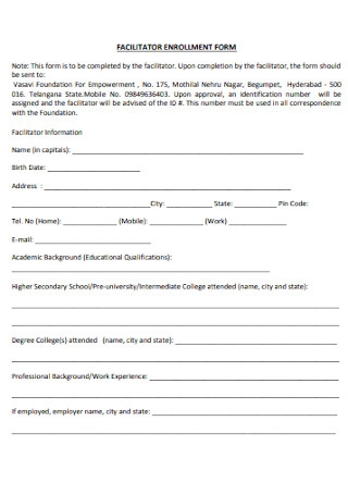 Facilitator Enrollment Form