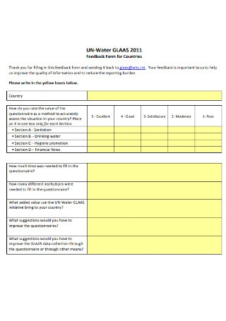 Feedback Form for Countries