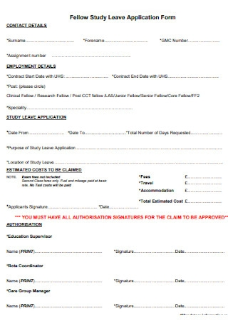 Fellow Study Leave Application Form
