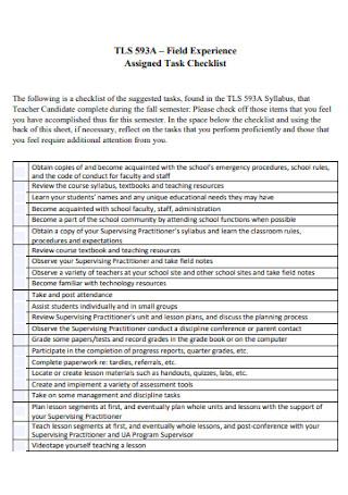 Field Experience Task Checklist