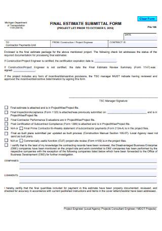 Final Estimate Submital Form
