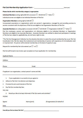 Flat Out Membership Application Form