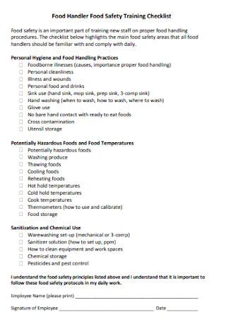 Food Safety Training Checklist