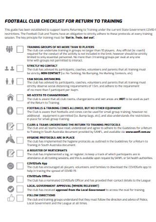 Foot Ball Training Checklist