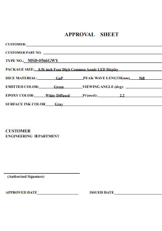Formal Approval Sheet Template