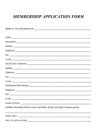Formal Membership Application Form Example