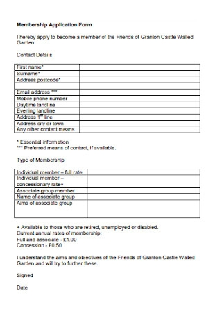 Formal Membership Application Form Template