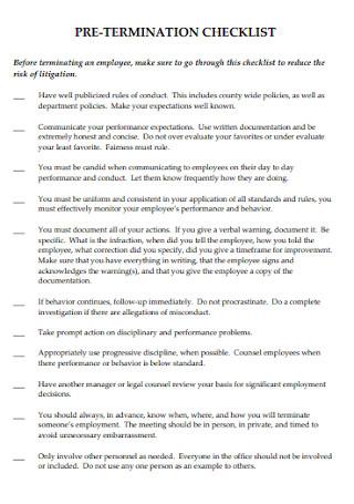 Formal Pre Termination Checklist