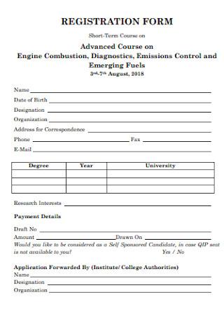 Formal Registration Form Template