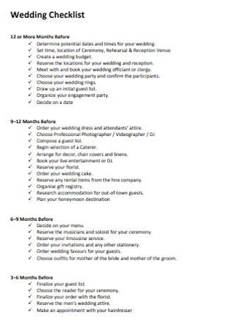 Formal Wedding Checklist Template