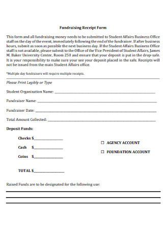 Fundraising Receipt Form