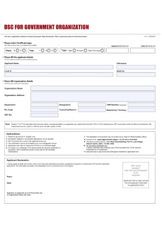 Governament Organization Form Template