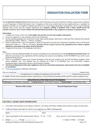 Graduation Evaluation Form