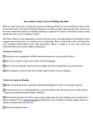 Green Wedding Planning Checklist