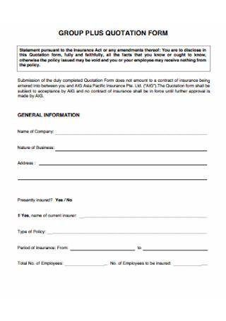 Group Plus Quotation Form