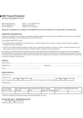 Group Quotation Form