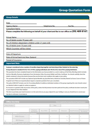 Group Quotation Form Example