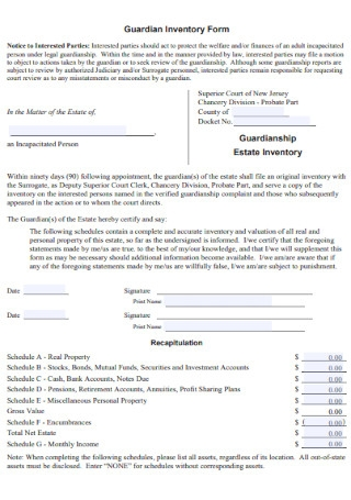 Guardian Inventory Form