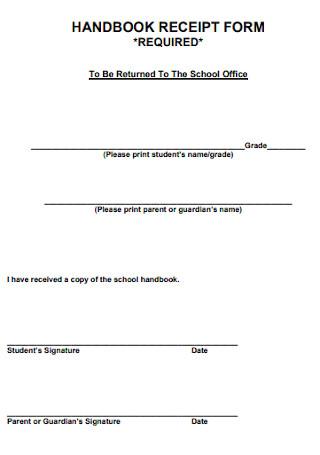 Handbook Receipt Form