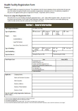 Health Facility Registration Form