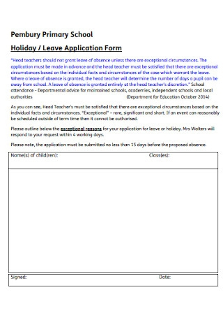 Holiday and Leave Application Form