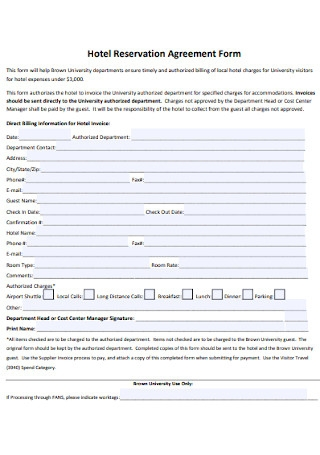 Hotel Reservation Agreement Form