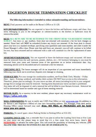 House Termination Checklist