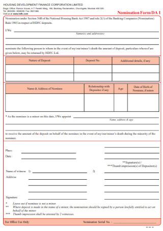 Housing Finance Nomination Form