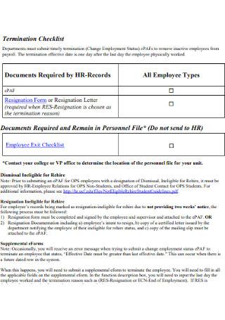 Human Resources Termination Checklist