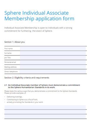 Individual Associate Membership Application Form