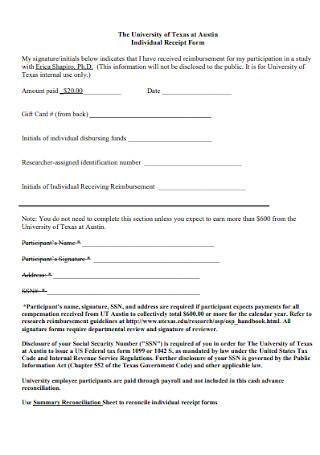Individual Receipt Form