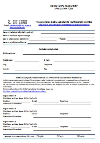 Institutional Membership Application Form