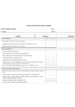 Instructional Observation Checklist