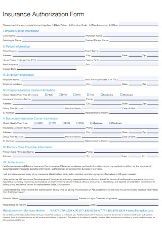 Insurance Authorization Form