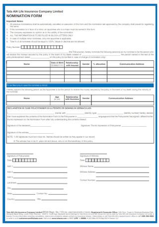 Insurance Company Nomination Form