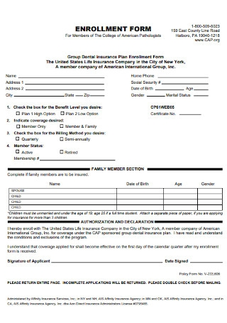 Insurance Enrollment Form