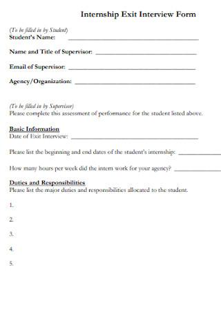 Internship Exit Interview Form