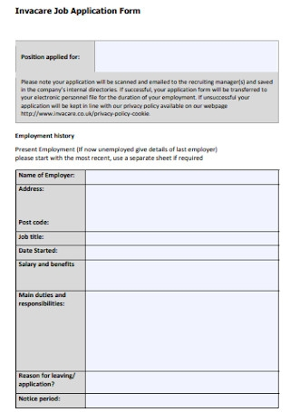 Invacare Job Application Form