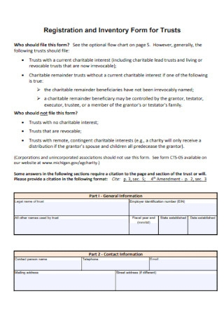 Inventory Form for Trusts