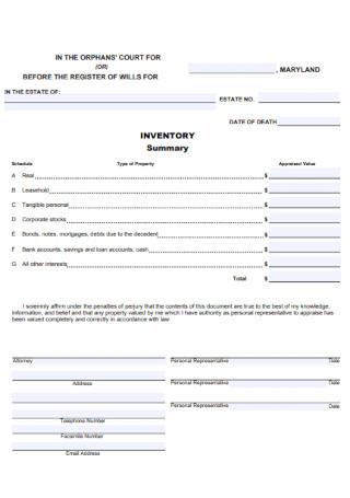 Inventory Summary Form