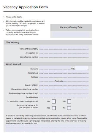 Job Vacancy Application Form