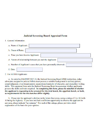 Judicial Screening Board Appraisal Form