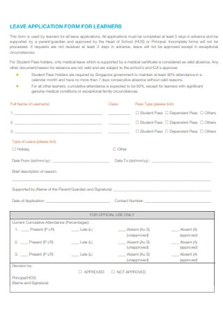 LEave Application Form for Learns